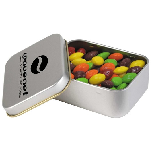 Assorted Fruit Skittles in Silver Rectangular Tins