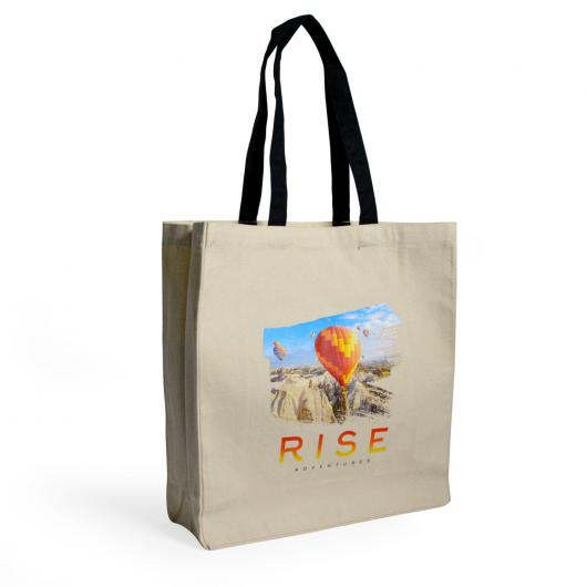 Printed Canvas Totes with Gusset