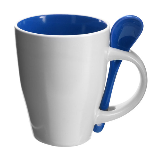 Coffee Mugs with Spoons Blue