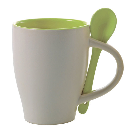 Coffee Mugs with Spoons White Lime