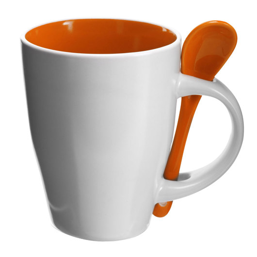 Coffee Mugs with Spoons White Orange