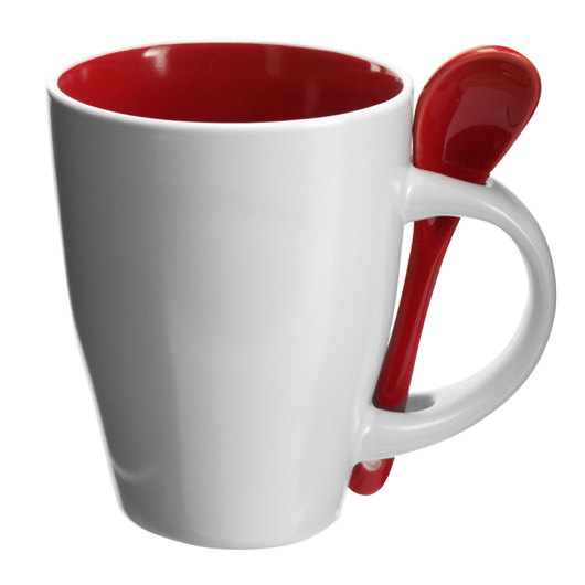 Coffee Mugs with Spoons White Red