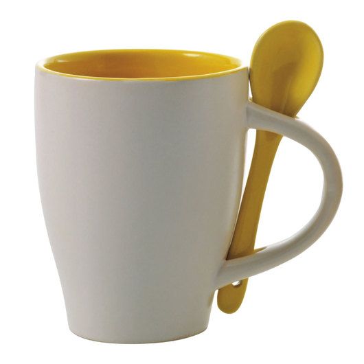 Coffee Mugs with Spoons White Yellow