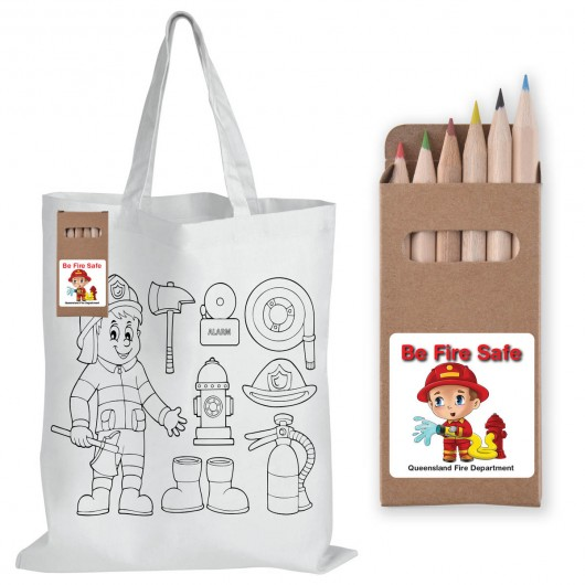 Colour In Calico Bags - Pencils