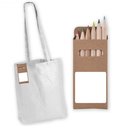 Colour In Long Handle Calico Bags