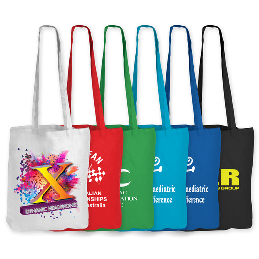 Coloured Long Handle Calico Bags