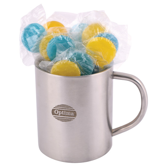 Corporate Coloured Lollipops in Stainless Steel Mugs