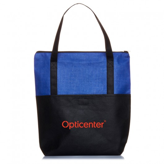 Blue Crosshatch Tote Bags