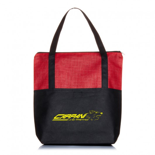 Red Crosshatch Tote Bags
