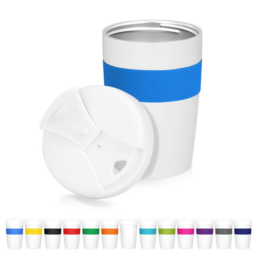 Promotional Metal Cup 2 Go White