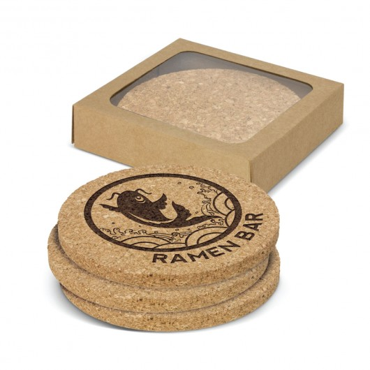 Round Cork Coasters (Set of 4) printed