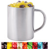 Corporate Colour Mini Jelly Beans in Stainless Steel Mugs